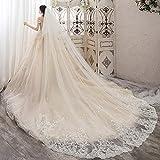 Nosterappou Vestido de Novia de Encaje de Novia del cordón Largo, Suelo Velos de Novia Longitud de velos de Novia (Blanco)