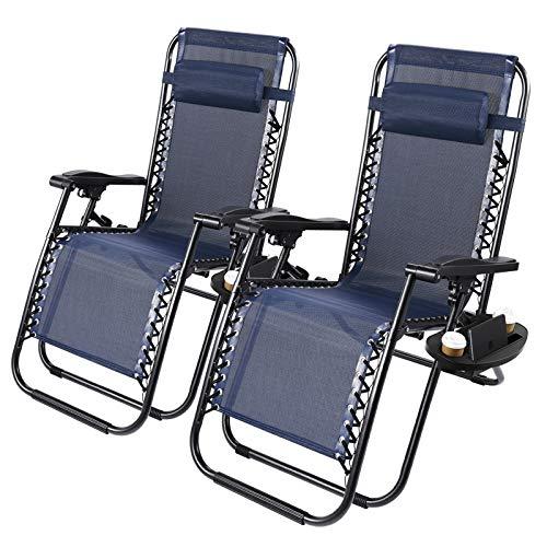 Superworth Set Of 2 Folding Zero Gravity Chairs Beach Chair Sun Lounger Recliner For Beach Patio Garden Camping Outdoor Indoor Blue