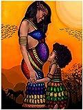 YYTTLL 5D-Diy-Diamond Drawing-African Mother and Child-Set By Number Kit Bordado de diamantes de imitación Imagen de punto de cruz Artesanía para la decoración de la pared del hogar- 40X50Cm