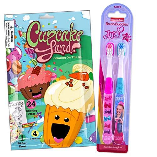 Juego de cepillo de dientes de viaje para niñas incluye Cupcake Land Fun Reward Pack con lápices de colores, pegatinas y mini libro para colorear para niños (JoJo 2 unidades)