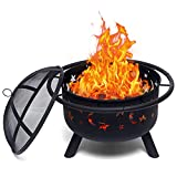 Outdoor fire Pit, 30-inch Wood Burning fire Pit, with Sparkle Screen, Poker, Suitable for Outdoor Camping Campfire Beach Terrace Backyard, Black