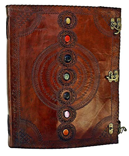 SKYLAND Leather Journal Seven Chakra Medieval Stone Embossed Handmade Book of Shadows Notebook Office Diary College Book Poetry Book Sketch Book 13 x 18 Inches