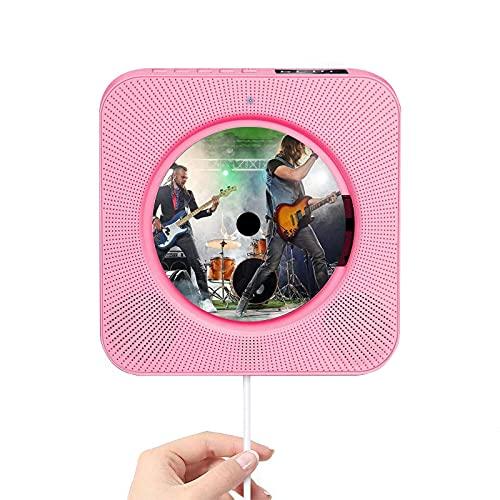 LANGTAOSHA Reproductor CD Bluetooth con Montaje En Pared, Reproductor De Música con Radio Altavoz Estéreo De Alta Fidelidad Incorporado Portátil con Control Remoto, FM Conexión USB AUX,Rosado