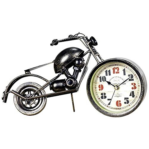 Opfury Wecker Motorrad, Einzigartiger Retro Motorrad Wecker Batteriebetrieben, Metall Handwerk Dekoration Geschenk Für Motorliebhaber, Kinder, Jungen