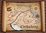 12-er-Set'ALTE SCHATZKARTE': Einladungskarten zum Piraten-Kindergeburtstag oder zur Schatzsuche/Geocaching