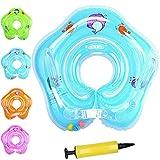 Flotador Cuello Bebe BañEra,Baby Swimming Float,Baby Infant Inflatable Neck Float Ring Bath Toy, para Niños Bebés de 0 a 18 Meses con Bomba Inflado A3