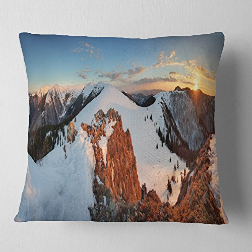 Designart Slovakia Frozen Panorama Landscape Printed Throw Cushion Pillow Cover For Living Room Sofa 16 X 16 Shefinds