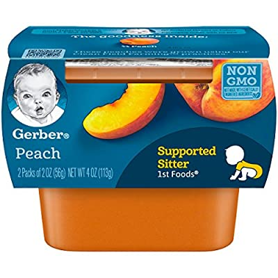 Gerber 1st Foods, Peach Pureed Baby Food, 2 Ounce Tubs, 2 Count (Pack of 8)