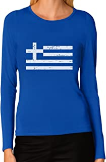 TeeStars - Vintage Greece Flag Retro Style Greek Women Long Sleeve T-Shirt