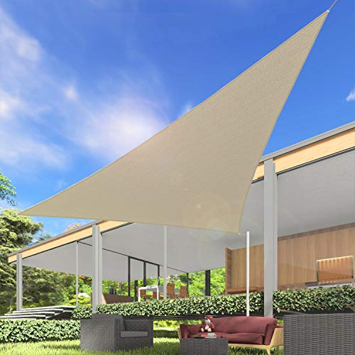 Windscreen4less 16' x 16' x 16' Sun Shade Sail Canopy in Beige with Commercial Grade Customized