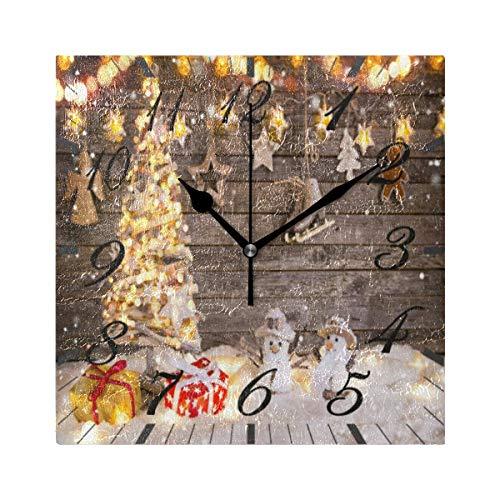 Reloj de Pared Moderno,Campana de copo de nieve de muñeco de nieve de árbol de Navidad feliz,Grandes Decorativos Silencioso Reloj de Cuarzo de Redondo No-Ticking para Sala de Estar,25cm diámetro