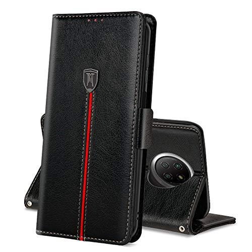 Xiaomi Redmi Note 9T 5G/ Redmi Note 9 5G Hülle, Magnet Ledertasche Handyhülle, Klapp Leder Schutzhülle, Flip TPU Bumper Bookcase, Stoßfeste Cover für Redmi Note 9T / Redmi Note 9 5G Schwarz