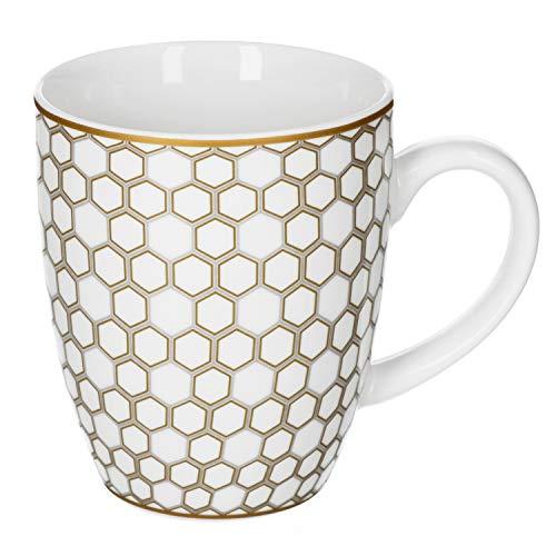 Van Well Honey Kaffeebecher-Set mit Henkel I 6X Kaffeepott aus Porzellan - mit Waben-Dekor in Silber & Gold I 50er Jahre Kaffee-Tassen-Set Retro - 350 ml Tea & Coffee Mug I große Tasse 6 Stück