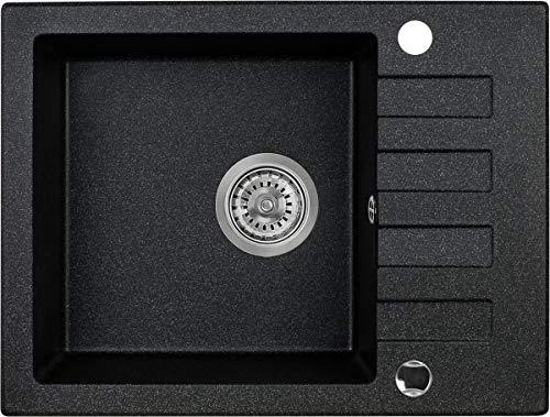 Manestein Spülbecken, Küchenspüle aus Granit, Einbauspüle, Abtropffläche, Einzelbecken mit Siphon, 58 x 44 cm, Schwarz Gesprenkelt