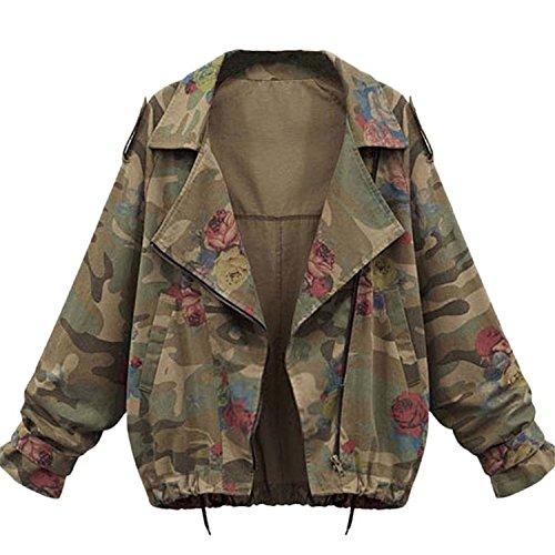 Minetom Mujer Otoño Invierno Coats Camuflaje Jackets Abrigos Militar Jeans Chaquetas Denim Ropa De Calle Tops Verde ES 36