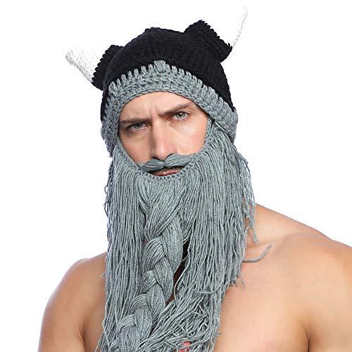 Tacobear Unisex Barba Sombreros Gorro con Barba de Vikingo Divertido Sombreros Invierno Sombrero Tejido Caliente Sombreros para Hombres