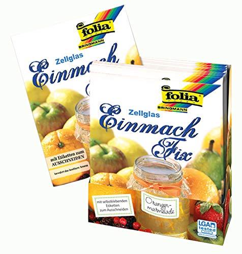 folia 303 Einmach-Fix Zellglas, Einmachcellophan, Beutel mit 3 Bogen 30 x 60 cm und Selbstklebeetiketten, bewahrt das Aroma von selbstgekochter Marmelade