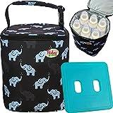 Fridaybaby Breastmilk Cooler Bag With Ice Pack Gel - For 4 Large 9 Oz Bottles – Baby Bottle Cooler Bag for Daycare Travel Nursing Moms | Insulated Baby Bottle Bag For Diaper Bag | Baby Elephants Black