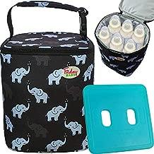 Fridaybaby Breastmilk Cooler Bag With Ice Pack Gel - For 4 Large 9 Oz Bottles – Baby Bottle Cooler Bag for Daycare Travel Nursing Moms   Insulated Baby Bottle Bag For Diaper Bag   Baby Elephants Black
