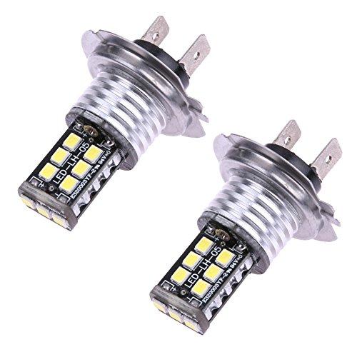 Tuankayuk 2 x H7 Auto LED pour voitures 15smd CANBUS erreur gratuit 3535 LED Blanc Voiture brouillard DRL