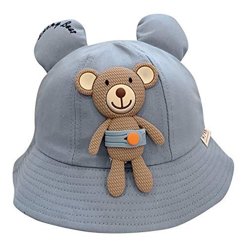 Sombrero de Pescador Niñas Niños Patrón de Oso Precioso Color sólido Anti UV Sombrero de Sol para Viaje Verano Sombrero de Playa 2-8 años