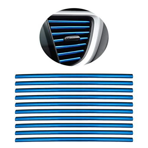 10 Stück Auto Lüftungsschlitz Auslassleiste,Auto Innen Zierleisten, Auto Lüftungsgitter Auslass Zierleiste Trim Leiste Innenverkleidung Dekoration (Blau)