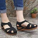 KovBexJa 2021 Sandalias De Verano De Moda De Talla Grande para Mujer Zapatos De Playa para Mujer Zapatos De Cuña De Tacón Alto Cómodas Sandalias De Plataforma Ligera Negro