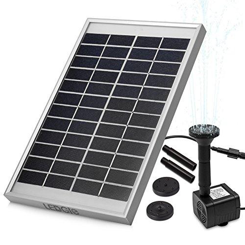 LEDGLE Fuente solar de 5 W, bomba de agua solar para jardín, con flujo máximo de 380 l/h.
