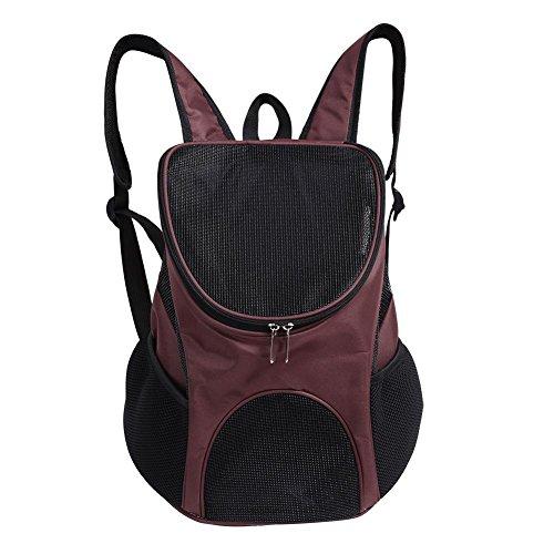 Haustier Rucksack Verstellbare Haustiertasche Out Hunde Rucksäcke Faltbarer Haustiertragetasche mit Belüftet Mesh für Hunde und Katzen, 25 x 30 x 35cm(Kaffee)