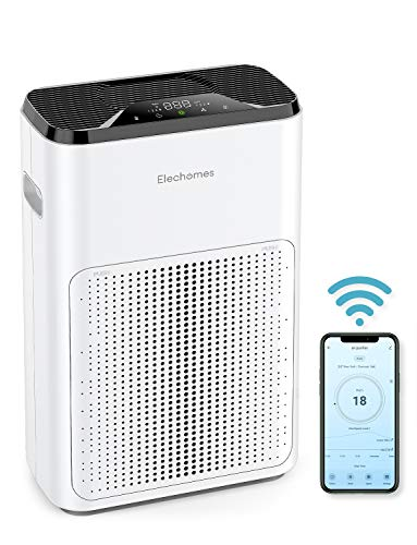 Elechomes Pro Series Air Purifier for Home Large Room with True HEPA Filter, Quiet in Bedroom Office, Air Cleaner Filter for Pets Smokers Pollen, WiFi APP Control, Air Quality Sensor 325 Sq Ft