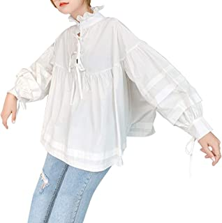 [エアバイ]前後 2way ブラウス リボン デザイン ふんわり プルオーバー シャツ フレア フリル 衿 レディース S~XL