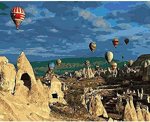 Wdsjxd Pintura por números para adultos Kits de bricolaje vintage pintura al óleo Turquía globo caliente impresión lienzo decoración de pared - 40 x 50 cm
