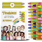 HENMI Pinturas Cara para Niños Seguridad no tóxica Pintura Facial, 36 Colores Crayons de Pintura Ajuste Halloween, Fiestas, Semana Santa,Navidad.
