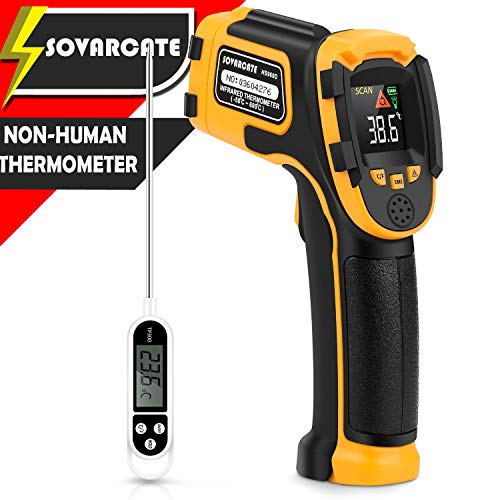 Infrared Thermometer Non-Contact Digital Laser Temperature Gun with Color Display -58℉~1112℉(-50℃~600℃)Adjustable Emissivity - for Cooking/BBQ/Freezer - Meat Thermometer Included -Non Body Thermometer