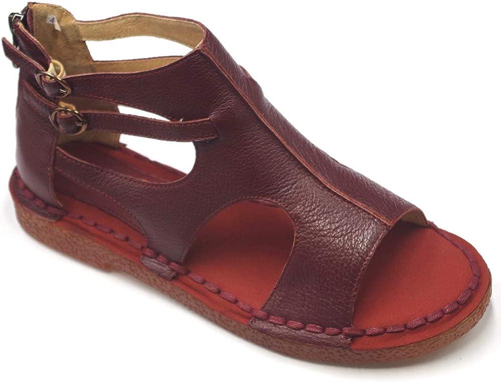 ZLUXURQ Sandalias de cuero para mujer - Sandalias cómodas de vestir al aire libre de cuña baja para mujer
