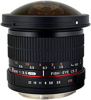 Rokinon HD8M-C 8mm f/3.5 HD Fisheye Lens with Removeable Hood for Canon DSLR 8-8mm, Fixed-Non-Zoom Lens,Black