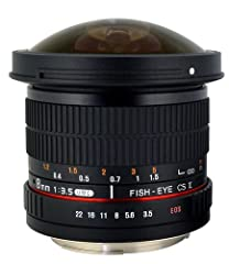 Ultra wide-angle 8mm fisheye lens with exaggerated perspective for dramatic effects; Manual focus Ultra-wide 167º diagonal field-of-view for APS-C size image formats will produce a rounded image that doesn't cover the entire frame when used with comp...