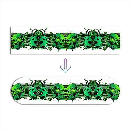 Pegatinas Autoadhesivas para monopatín Devil and Ladybug Green Pattern imprimiendo 24.8 'x 6.8' x 2Pcs Cambiar en Cualquier Momento
