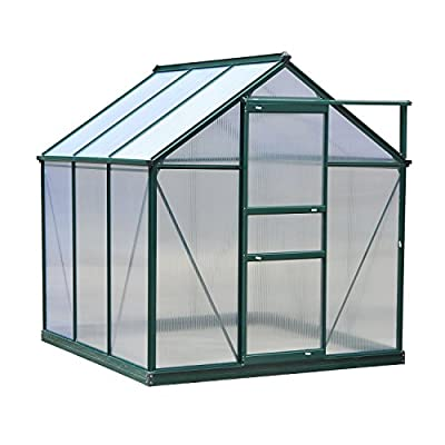 Outsunny 6' x 6' x 7' Polycarbonate Portable Walk-in Garden Greenhouse