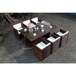 CONCEPT USINE – Salon De Jardin Miami 6 Personnes en Résine Tressée Marron Poly Rotin – 1 Table en Verre – 6 Fauteuils…