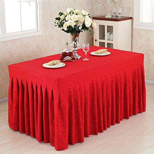 Nappes Fitted Table Skirt Cover Wedding Banquet With Top Topper Nappe - Crochet Crochet Fleurs ( Couleur : Rouge , taille : 40*120*75CM )