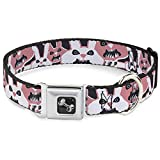 Dog Collar Seatbelt Buckle Angry Bunnies Gray Pinks 11 to 17 Inches 1.0 Inch Wide
