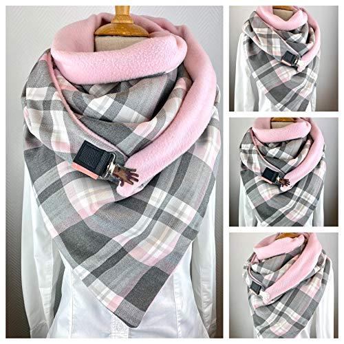 XXL Dreieckstuch, TUECHERFEE süßes Karo Halstuch mit Verschluss, kuscheliges Halstuch/rosa, hell- und dunkelgrauer Karostoff mit rosa Fleece zum kuscheligen Jumbo vereint