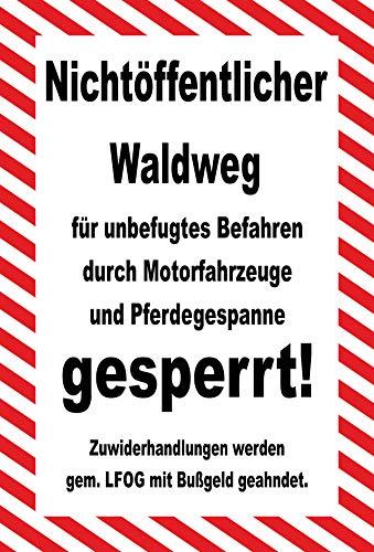 KE-Partyzubehör Schild 30x20cm Nicht öffentlicher Waldweg - gesperrt - 3mm Aluverbund - 20 Varianten