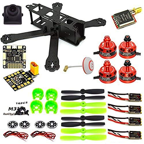 LHI 220mm Full Carbon Frame + DX2205 2300KV Brushless Motor + Littlebee 20A Regulator + Pro SP Racing F3 Flight Controller Acro + 5045 Propeller FPV Quadcopter ARF Kit