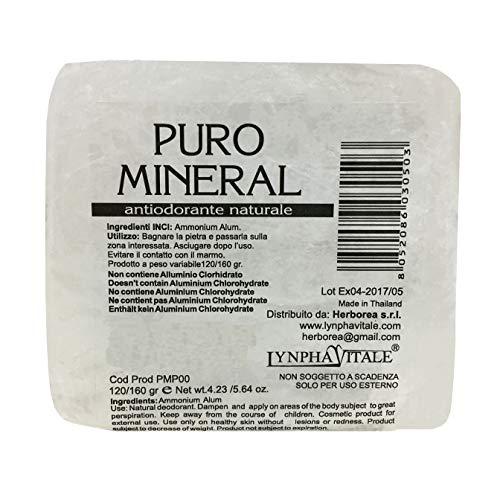 Kristal deodorant ruwe steen - 100% natuurlijkePuro Mineral - Aluin Deodorant voor dames en heren - Geurloze deodorant - 120/160 gr