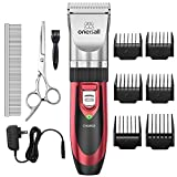 Pet Grooming Clipper Kits Low noise Oneisall Dog and Cat Rechargeable Cordless Electric Queit Clippers Set (Red)