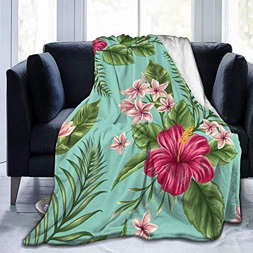 DWgatan Couverture,Couvre-lit de canapé Polyvalent Doux et Chaud de qualité Hawaiian Tropical Leaves Flowers Printed Blanket for Bedroom Living Room Couch Bed Sofa -50\