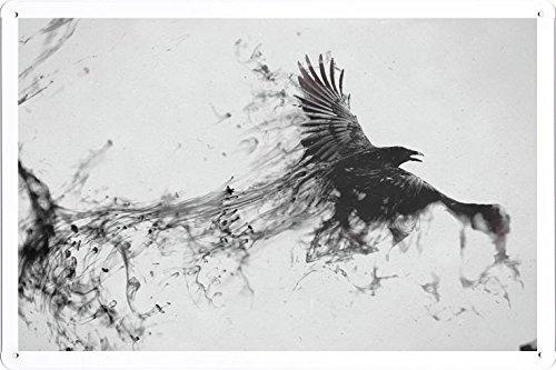 Abstract Sign - Raven Bird Flying Smoke Black White 92907 Metal Tin Poster