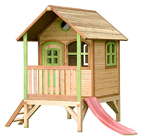 BeautyScouts-Vanadis-Wooden-Playhouse-with-Porch-Ladder-Slide-172-x-287-x-231-cm-Cedar-Wood-in-Brown-Childrens-Playhouse-Garden-House-Wooden-House